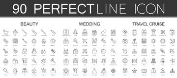 90 nowożytnych cienkich kreskowych ikon ustawiających piękno kosmetyki, ślub, podróż rejs ilustracji