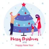 Nowożytnych kreskówka płaskich charakterów zimy rodzinni wakacje, Wesoło bożych narodzeń nowego roku szczęśliwy pojęcie ilustracja wektor