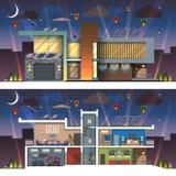 Nowożytna domowa fasadowa sekci noc Zdjęcie Royalty Free