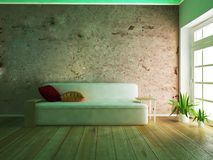 Nowożytna kanapa w pokoju, 3d Obrazy Royalty Free