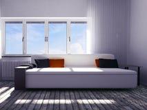 Nowożytna kanapa w pokoju, 3d Obrazy Stock