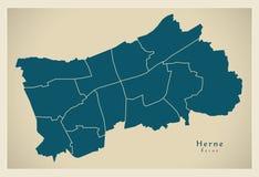 Nowożytna miasto mapa - Herne Niemcy z podgrodziami DE miasto Zdjęcia Stock