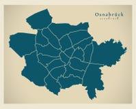 Nowożytna miasto mapa - Osnabruck Niemcy z podgrodziami DE miasto Zdjęcie Royalty Free