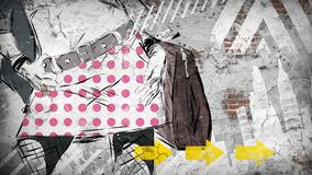 Nowożytna nastoletnia dziewczyna na grunge tle Obraz Royalty Free