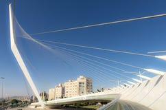 Nowożytna zawieszenie mosta tramwajowa harfa David w Jerozolima Zdjęcie Royalty Free