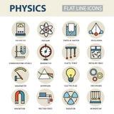Nowożytne cienkie liniowe wektorowe ikony physics i laboratorium eksperymenty Obraz Royalty Free