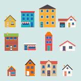 Nowożytne modne retro domowe uliczne płaskie ikony ustawiać