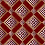 Nowożytnego geometrycznego grka klucza bezszwowy wzór Abstrakcjonistyczny czerwony backgr Obraz Royalty Free