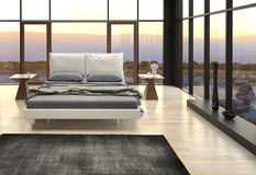 Nowożytnego projekta sypialnia z krajobrazowym widokiem Zdjęcie Royalty Free