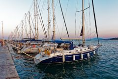 Nowożytni jachty, Volos, Grecja Fotografia Royalty Free