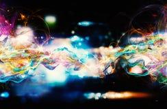 Nowożytny abstrakcjonistyczny ruchu sztandar na ciemnym tle Fotografia Stock