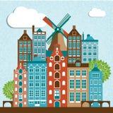 Nowożytny Amsterdam miasta linii horyzontu projekt Zdjęcia Royalty Free