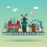Nowożytny Amsterdam miasta linii horyzontu projekt Holandie Obrazy Royalty Free