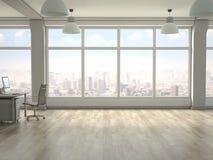 Nowo?ytny biurowy wn?trze z panoramicznymi okno 3 d czyni? obrazy royalty free