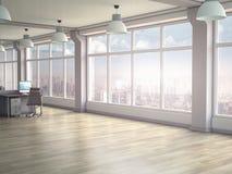 Nowo?ytny biurowy wn?trze z panoramicznymi okno 3 d czyni? ilustracji