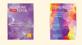 Nowożytny broszurki pokrywy i letterhead szablonu wieloboka niski geomet Obrazy Royalty Free