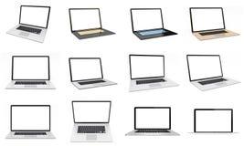 Nowożytny cyfrowy srebny laptop paczki 3D rendering Zdjęcie Royalty Free
