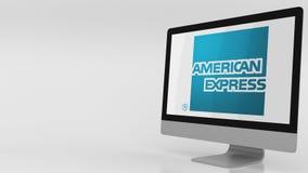 Nowożytny ekran komputerowy z American Express logem Redakcyjny 3D rendering Zdjęcie Stock