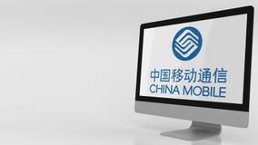 Nowożytny ekran komputerowy z China Mobile logem Redakcyjny 3D rendering Fotografia Royalty Free