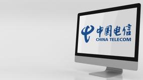 Nowożytny ekran komputerowy z China Telecom logem Redakcyjny 3D rendering Zdjęcia Royalty Free