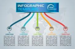 Nowożytny infographics opcj szablonu wektor z kolorowymi liniami Zdjęcie Stock