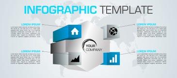 Nowożytny kolorowy infographics opcj szablonu wektor z 3D hex royalty ilustracja