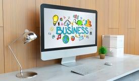 Nowożytny komputer z biznesowym prezentaci 3D renderingiem Obrazy Royalty Free