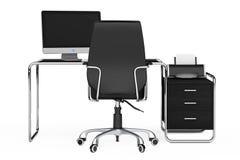 Nowożytny kreatywnie workspace Komputer jest na biuro stole z Blac Obraz Royalty Free