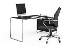 Nowożytny kreatywnie workspace Komputer jest na biuro stole z Blac Zdjęcie Royalty Free