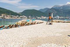 Nowożytny kurortu teren z nowymi hotelami w Budva na Adriatyckim Montenegro Obraz Stock