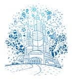 Nowożytny miasta doodle royalty ilustracja