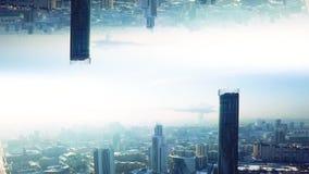 Nowo?ytny miasto z lustrzanym skutkiem Akcyjny materia? filmowy Abstrakcjonistyczna animacja z skutkiem równoległa rzeczywistość  ilustracja wektor