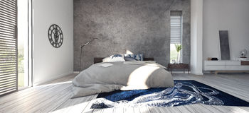 Nowożytny projekt sypialnia Zdjęcia Royalty Free