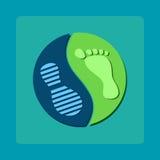Nowożytny symbol yin Yang odciski stopy ilustracji