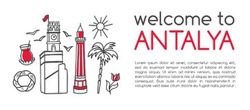 Nowożytny wektorowy ilustraci powitanie Antalya obrazy royalty free