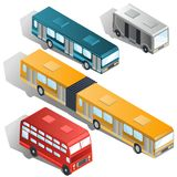 Nowożytnych miasto autobusów isometric wektory inkasowi Zdjęcia Royalty Free