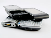 nowoczesne ruchome pda telefony wypiętrzają kilka stertę Zdjęcie Royalty Free