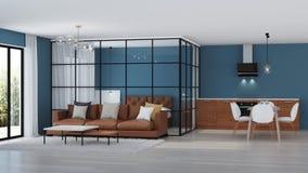 nowoczesne wewnętrznego w domu Sypialnia z szklanymi rozdziałami zdjęcie stock