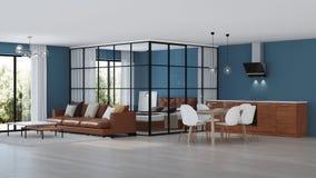 nowoczesne wewnętrznego w domu Sypialnia z szklanymi rozdziałami fotografia stock