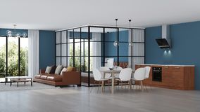 nowoczesne wewnętrznego w domu Sypialnia z szklanymi rozdziałami obrazy royalty free
