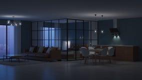 nowoczesne wewnętrznego w domu Sypialnia z szklanymi rozdziałami obrazy stock