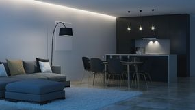 nowoczesne wewnętrznego w domu czarna kuchni noc Wieczór oświetlenie ilustracja wektor
