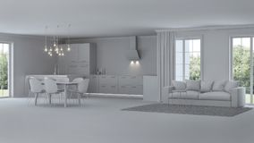 nowoczesne wewnętrznego w domu naprawy szary wnętrze Obraz Royalty Free