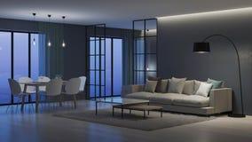 nowoczesne wewnętrznego w domu Sypialnia za szklanymi rozdziałami obraz royalty free