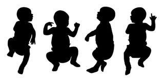 Nowonarodzone dziecko sylwetki ustawiają 2 royalty ilustracja