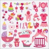 Nowonarodzone rzeczy ustawiająca dziewczynki kolekcja dziecka urodzonej chłopiec karty nowa prysznic Fotografia Royalty Free