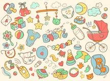 Nowonarodzonego niemowlaka doodle o temacie set Dziecko opieka, karmienie, odzież, Fotografia Stock