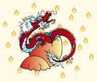 Nowonarodzony czerwony azjatykci smok na płomieniu Obrazy Stock