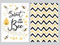 nowonarodzony sztandaru projekta teksta cukierki jak może ustawiać pszczoła dekorujący pszczoła cukierki kierowego miodowego zygz royalty ilustracja