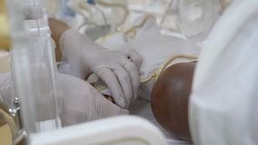 Nowonarodzony w macierzyńskim kliniki pojęciu Zakończenie w górę doktorskich ręk ustawia palcowych czujniki dziecięca palma w ink zbiory